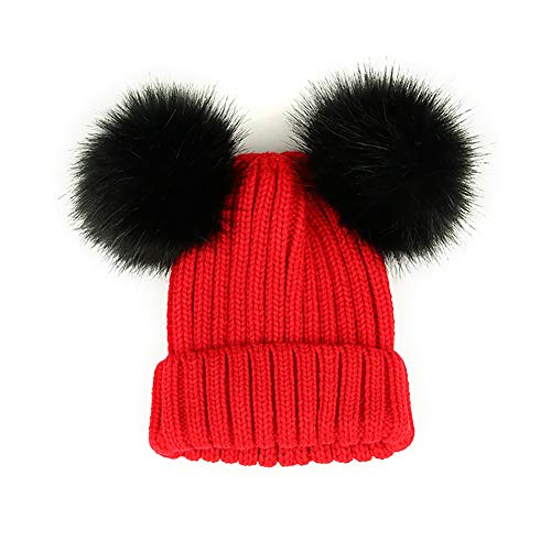 Kids Faux Raccoon Fur Ball Pompom Ears Winter Bobble Hat Knitted Double Pom Cap Kids Beanie Hat(Ages 3-12) Red