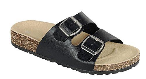 Cambridge Utvalda Womens Öppen Tå Två Spänne Slip-on Flat Slide Sandal Svart Pu