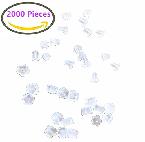 2000 Pieces Assorted Earring Backs Clear Rubber Secure Earring Safety Backs Stoppers,Bullet Clutch Plastic And Petal Style Locking Earring Backs Silicone Replacements,2 Different Shapes