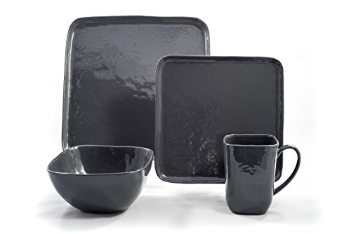 Tablescapes BT22226-16PC Bari Dinnerware Set, Stormy Grey (Dinnerware Grey Square Sets)