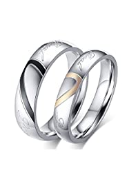 ROWAG Black 5MM Men Heart Shape Titanium Stainless Steel Couple Rings for Him and Her Pink 4MM Women Wedding Promise Engagement Bands