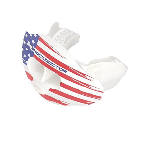 Shock Doctor 3300 Max Airflow Lip Guard Mouthguard With Tether, Trans White/US Flag, Adult Size
