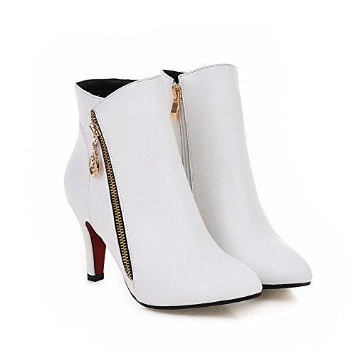 Heels Solid Pu AmoonyFashion Low White High Top Women's Zipper Boots qwAwO7F
