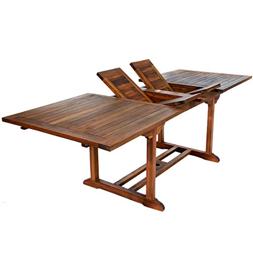 (All Things Cedar TE90 Teak Rectangular Extension Patio Table)