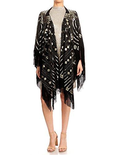 Anna-Kaci Womens Oversized Gatsby Hand Beaded Fringed Sequin Evening Shawl Wrap, Black+Gold, Onesize