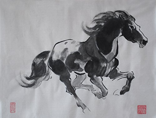 Jiangnanruyi Art Horse Original Hand Painted Artwork Unframed Chinese Brush Ink and Wash Watercolor Painting Drawing Decorations Decor for Office Living Room Bedroom (16×12inch, Artwork-01)