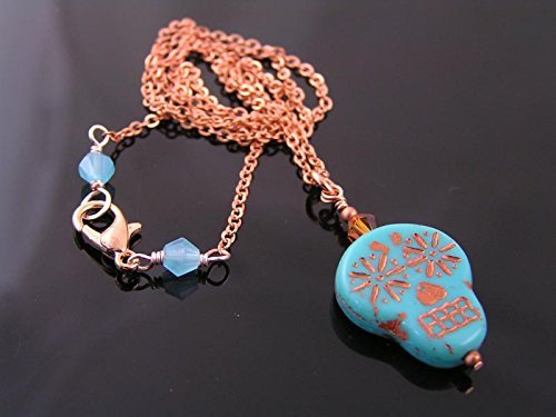 Turquoise Czech Glass Skull Pendant and Copper Necklace (Halloween In Australia)