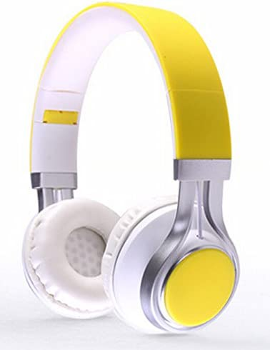 YouthCamp EF-E6 Adjustable Headband Headphone. Headset with Extremely Soft Ear Pad, Noise Cancelling Earphones stereo sound for Music Equipment Yellow