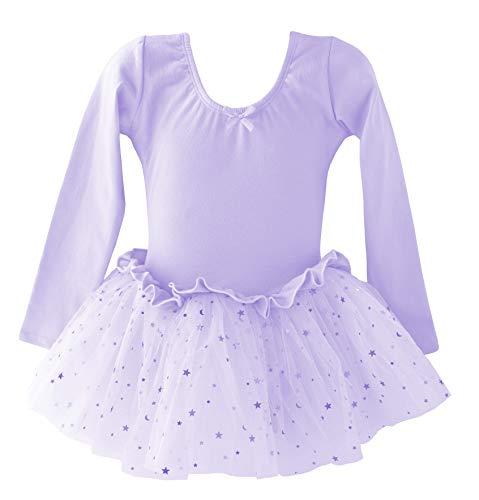 Dancina Leotard Sparkle Tutu Dress Long Sleeve Snug Fit Team Basics Slim Solid Unitard 6 Lavender -