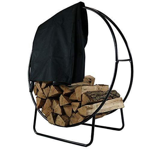 Sunnydaze Outdoor Log Hoop w/Black Cover, 24 Inch Steel Firewood Rack