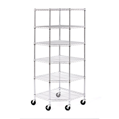 Seville Classics UltraDurable Commercial-Grade 6-Tier NSF-Certified Corner Steel Wire Shelving with Wheels, 28