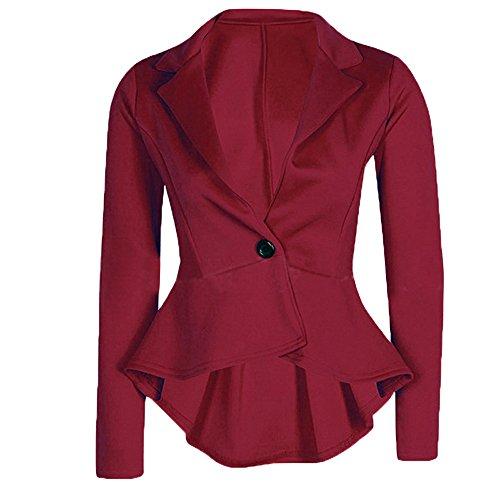 Cekaso Women's Long Sleeve Blazer Single Button Front Plain Peplum Frill Blazer Coat, Red, USsizeL=TagsizeXXL
