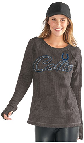 GIII For Her NFL Indianapolis Colts Adult Women Off Season Pullover, Medium, Charcoal