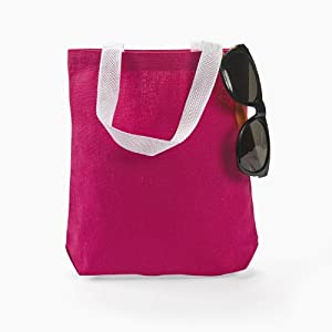Amazon.com: DARK PINK CANVAS TOTE BAG (1 DOZEN) - BULK: Kitchen ...