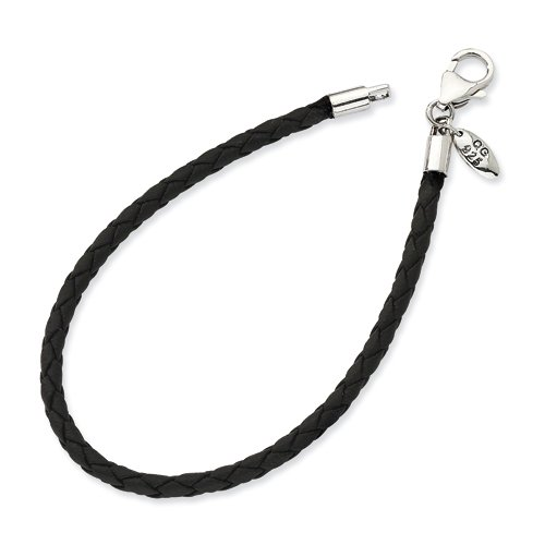 - Sterling Silver Lobster Claw Closure Black Leather Bead Bracelet - 7.5 Inch