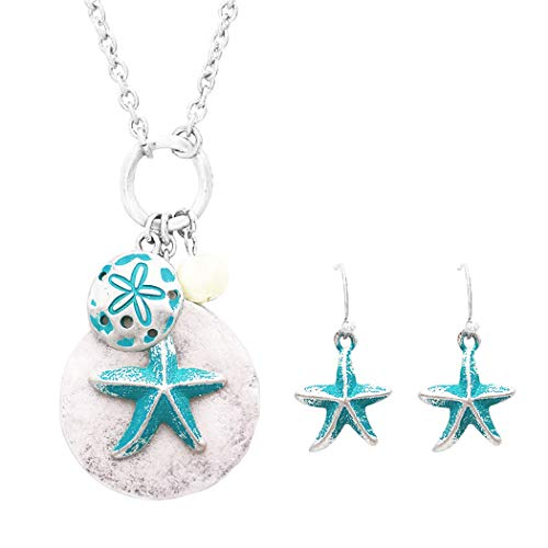 Rosemarie Collections Women's Nautical Starfish and Sand Dollar Fashion Jewelry Set (Silver/Turquoise)