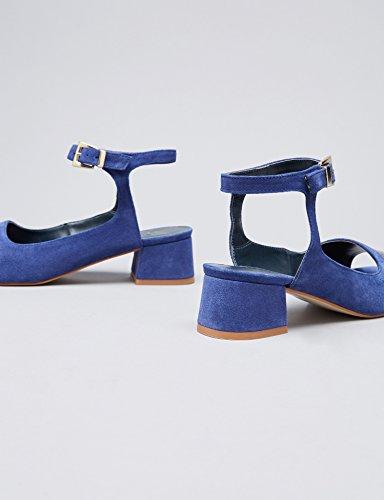 Mehrfarbig FIND Damen Schlangenleder Sandalen Blue Knöchelriemchen Effekt XgwTag1