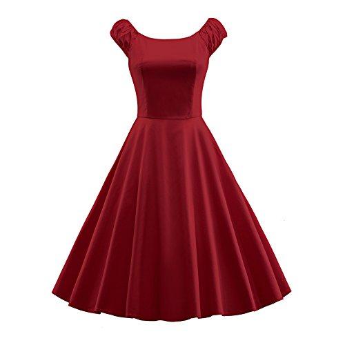 50s Women BFY Summer Hepburn s 60s Vintage Sleeve Audrey Burgundy Puff Dress YSHq7wS