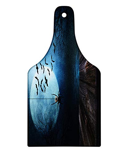 Ambesonne Halloween Cutting Board, Misty Lake Scene Rusty Wooden Deck Spider Eyeball and Bats with Ominous Skyline, Decorative Tempered Glass Cutting and Serving Board, Wine Bottle Shape, Blue -