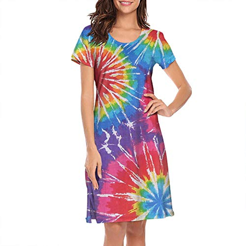 WYLIN Nightgown Womens Tie-Dye Party Art Rainbow.JPEG Printed Casual Comfy Short Sleeve