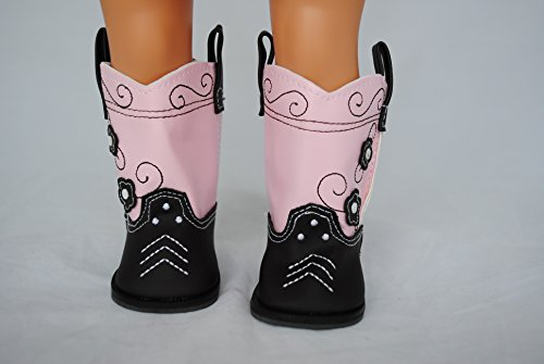 """Unique Doll Clothing Brown and Pink Cowboy Boots for 18"""" Inc"""