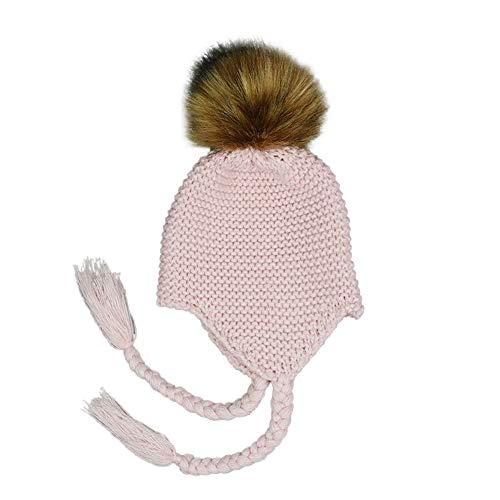 (Swyss Children Winter Hat Crochet Beanie Earflaps Knit Infant Hats Winter Warm Cap Kids Beanie Fuzzy Peruvian Hat0Pink)