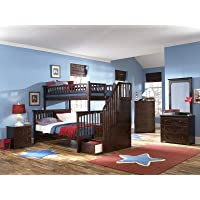 Columbia Staircase Bunk Bed, Twin Over Full, Antique Walnut