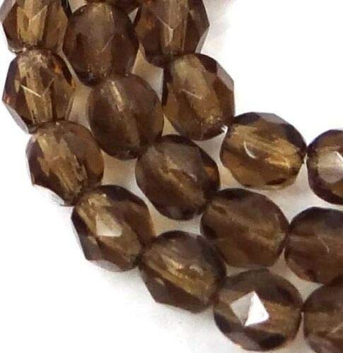 - (50 Beads) 4mm Firepolish Czech Glass Faceted Round Beads - Smoky Topaz
