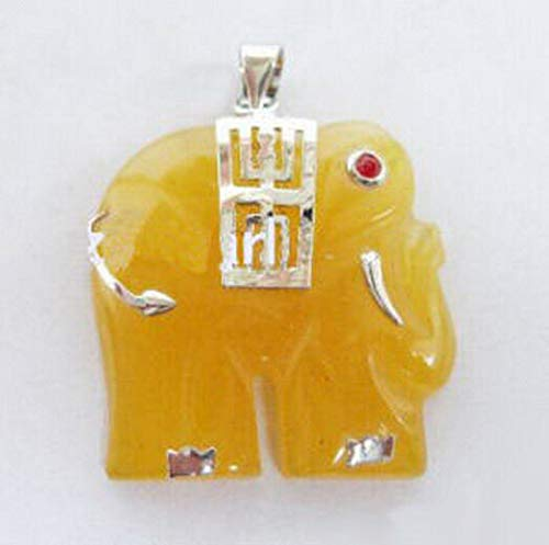 Yellow Jade Ruby Eyes White Gold Plated Elephant Pendant and Necklace