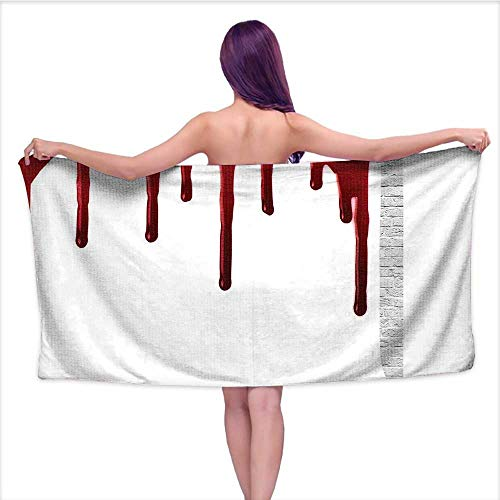 Leigh home Bath Towel, Horror Spooky Halloween Zombie Crime Help me Themed Red White,Good Ideal for The Kid's Bathroom, a Guest Bathroom W 20