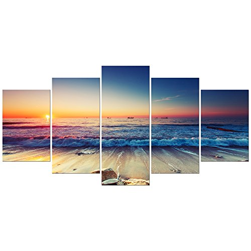 Pyradecor 5 Piece Extra Large Modern Seascape Artwork Gallery Wrapped Ocean Sea Beach Pictures Giclee Canvas Prints Waves Paintings on Canvas Wall Art for Living Room Bedroom Home Decorations XL ()