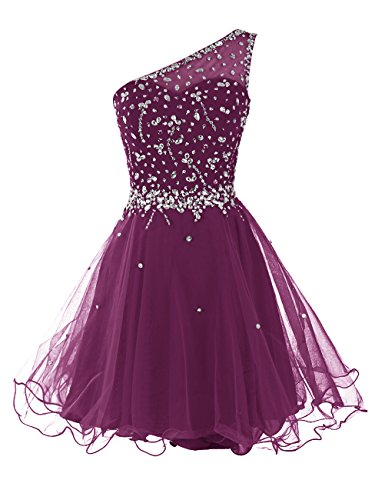 DRESSTELLS Short One Shoulder Prom Dresses Tulle Homecoming Dress with Beads Grape Size 8