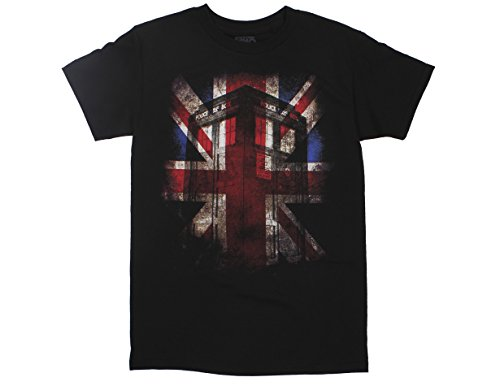 Ripple Junction Doctor Who Tardis Union Jack Glow Adult T-Shirt XL Black