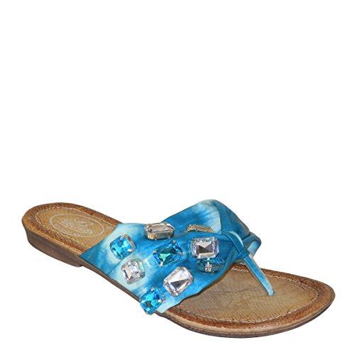New Brieten Womens Rhinestone Thong Flip Flop Flat Comfort Sandals Turquoise gLwsz7o