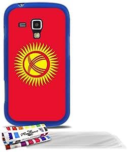 """Carcasa Flexible Ultra-Slim SAMSUNG GALAXY TREND de exclusivo motivo [Kirguistan Bandera] [Azul] de MUZZANO  + 3 Pelliculas de Pantalla """"UltraClear"""" + ESTILETE y PAÑO MUZZANO REGALADOS - La Protección Antigolpes ULTIMA, ELEGANTE Y DURADERA para su SAMSUNG GALAXY TREND"""