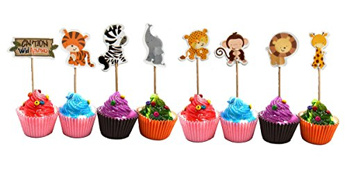 Wild Animals Zoo Zebra Lion Tiger Elephant Giraffe Cupcake Toppers Party Pack for 24 Cupcakes
