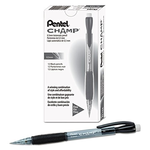 Pentel Champ Mechanical Pencils - HB Lead - 0.5 mm Lead Diameter - Refillable - Black Lead - Black Barrel - 24 / Pack