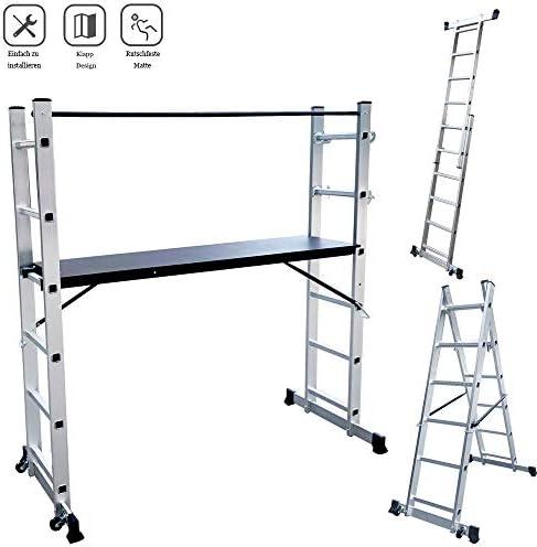 Froadp Andamios de Aluminio Trabajo Multipropósito con Tablero de MDF Antideslizante Capacidad de Carga 150kg Escalera Combinada Plegable con 2 Barras de Equilibrio y 2 Ruedas(2×6 peldaños, Plata): Amazon.es: Bricolaje y herramientas