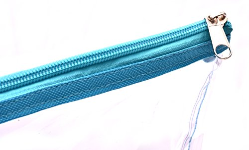 Clear Tote Bag - Top Zipper Closure, Long Shoulder Strap and Attractive Fabric Trimming. Perfect Transparent Travel Tote for all Places and Events where Clear Bags are Required. (Teal) by Handy Laundry (Image #4)