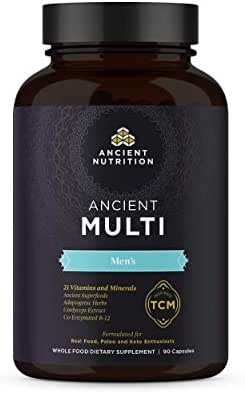 Ancient Nutrition, Ancient Multi Men's - 21 Vitamins & Minerals, Co-Enzymed B-12, Adaptogenic Herbs, Paleo & Keto Friendly, 90 Capsules
