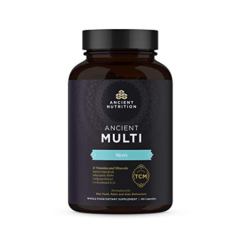 Ancient Nutrition, Ancient Multi Men s – 21 Vitamins Minerals, Co-Enzymed B-12, Adaptogenic Herbs, Paleo Keto Friendly, 90 Capsules