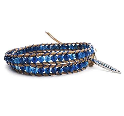 (BLUEYES COLLECTION 2 Wrap Leather Bracelet Leaf Choker Necklace - Blue Star - Faceted Agate Beaded Stainless Steel Button)