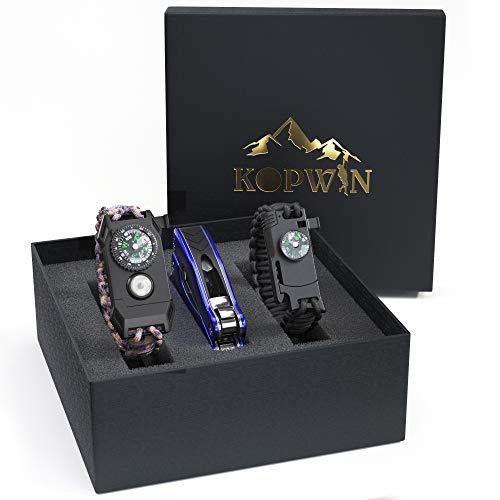 Kopwin Paracord Survival Bracelet Set - Bonus Keychain Multitool Included. Paracord Bracelet with Compass, Magnesium Flint Fire Starter, Emergency Whistle, Knife and Led Light. Set of 2 (Camo)