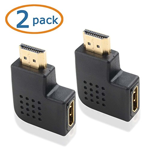 WOVTE HDMI Right Angle Port Saver Adapter Male to Female 90 Degree Vertical Flat Left Pack of 2