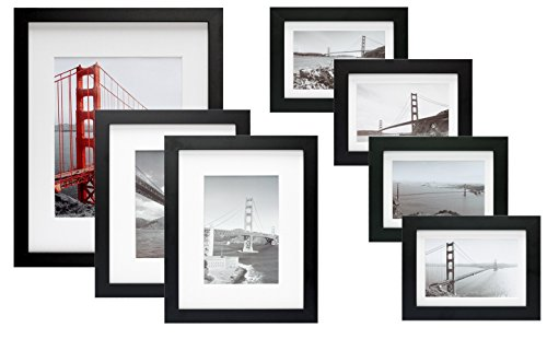 Frametory, 7 Piece Gallery Wall Set with Golden Gate Bridge in San Francisco As The Famous Landmark Wall Art Decor Giclee Photo Print in Black Frame - Off White Matte - Real Glass - Ready to Hang (Off Print Photo)
