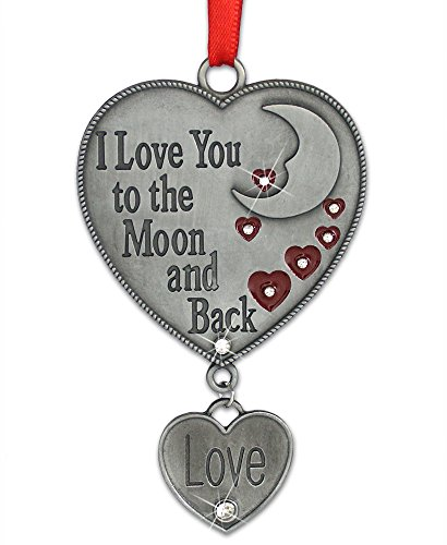 BANBERRY DESIGNS I Love You to The Moon and Back - Heart Ornament with Love Charm - Hanging Love Heart for Her -