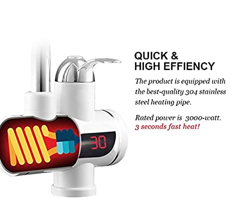 TINTON LIFE 220V Instant Tankless Electric Hot Water Heater Faucet Kitchen Instant Heating Tap Water Faucet with LED Digital Display Small Under Inflow