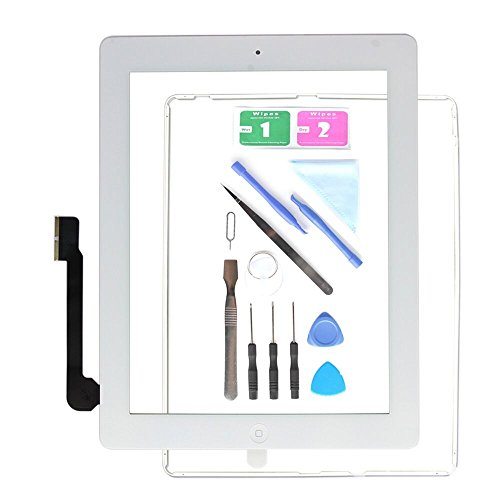 Replacement Screen for iPad 3 A1416 A1403 A1430,iPad3 Touch Screen Digitizer Front Glass Assembly White-Includes Home Button +Camera Holder+ PreInstalled Adhesive +Tools Kit