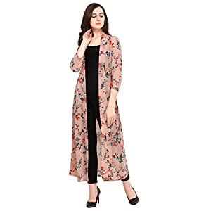 Serein Women's Pink Floral Georgette Long Shrug/Jacket with Full Sleeves