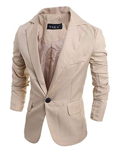 Giacche Capispalla Slim Sportiva Cappotto Completo Freizet Giovane Casual Da Bottone 1 Corta Regolare Fit Giacca Khaki Uomo Vestibilità xY6RwROq
